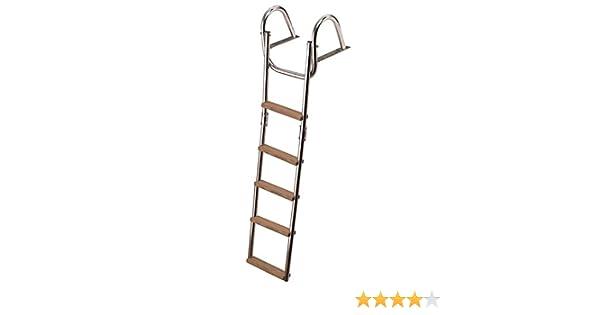 Escalera Escalerilla 5 Peldaños, Acero Inoxidable, Madera de Teca Para Barco Gommone 116 cm: Amazon.es: Deportes y aire libre