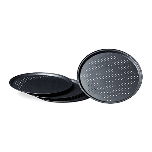 Relaxdays Pizza Pans with Perforations Set Round Pizza Baking Trays with Large Diameter of 29 cm Tray for Pizza and Tarte Flambee Pizza Baking Set 4 Piece Set w/ Non-Stick Coating, Gray