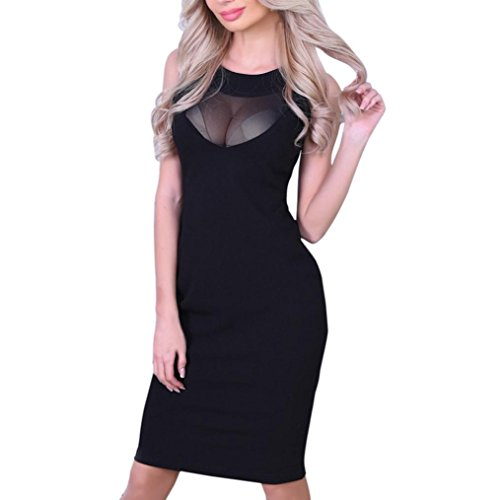 Dress Party Mesh Midi Clubwear Sleeveless Women Sexy Black Through Bodycon BSGSH See zv6TXq