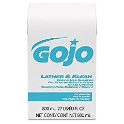 GOJO 9126-12 Lather/Klean Body and Hair Shampoo, 800mL Refill (Pack of 12)