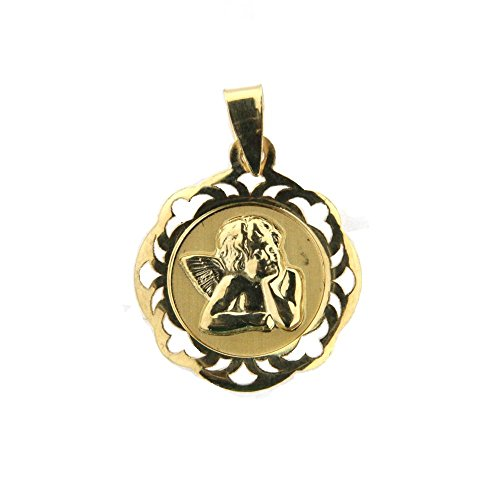 18kt Yellow Gold Cerco Calado Angel Medal (17mm/25mm with Bail) by Amalia