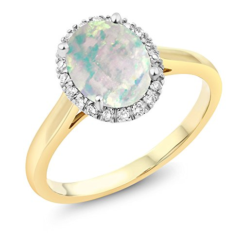Gem Stone King 10K 2-Tone Gold Oval White Simulated Opal and Diamond Halo Engagement Ring 0.60 Ct (Size 6)