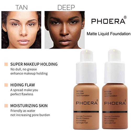 2 Packs PHOERA Liquid Foundation,Matte Full Coverage Foundation Makeup with Mushroom Head Applicator, Oil Control Flawless Concealer Cover Facial Blemish Foundation Makeup for Black Women (108# and 109#)