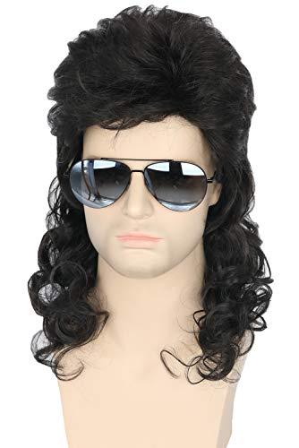 Topcosplay Men Wigs 80s Mullet Wig Black Curly Male Redneck Wig Halloween Costumes Punk Rocker Wig Long]()