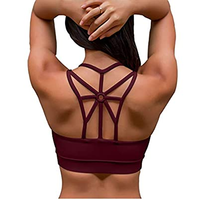 YIANNA Women's Padded Sports Bra Cross Back Medium Support Workout Running Yoga Bra at Women's Clothing store