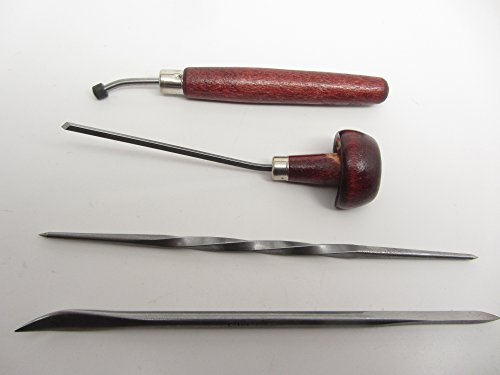 E C Lyons Intaglio Set A (4 Tools) Roulette Scarper/Burnisher Twisted Scriber Sq. Burin L334-1 by UJ Ramelson Co