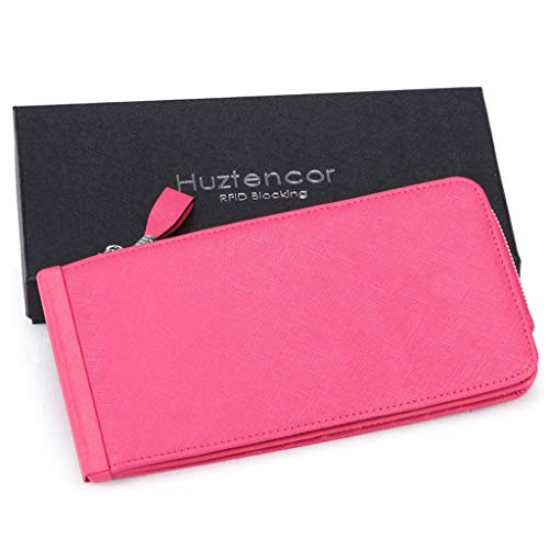 Rfid Women Blocking Wallet Card Case Credit Rose Leather Huztencor Womens Holder Purse qwn148xYW