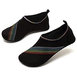 VIFUUR Water Sports Shoes Barefoot Quick-Dry Aqua Yoga Socks Slip-On For Men Women Kids XidaiBlack-40/41