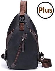 FreeMaster Sling Pack Chest Bag Mens Shoulder Backpack PU Bag Outdoor Cross Body Bags Retro Bag Walking Hiking...