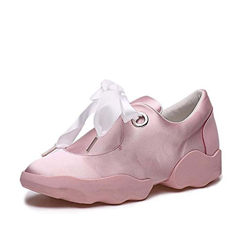 Pure Satin Shoes Snakers Student Flat Tie Toe Bowknot Pump Eu Shoes Size Autumn Pink Cloth 40 Bow Color Running Round New 2017 34 Shoes Sports Women Lazy vpwxnU