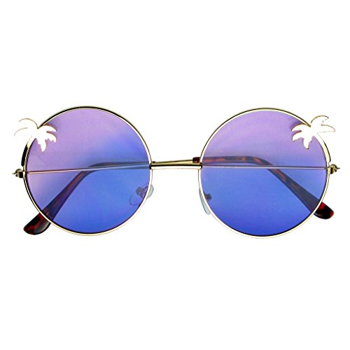 Emblem Eyewear - Indie Palm Tree Gradient Lens Round Hippie Sunglasses (Purple - Cheap Free Lenses Shipping Circle