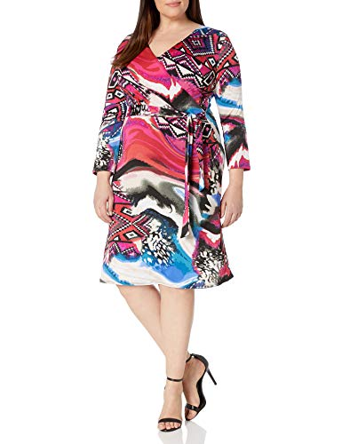 Star Vixen Women's 3/4 Sleeve Faux Wrap Dress, Fuchsia Abstract Print, Large