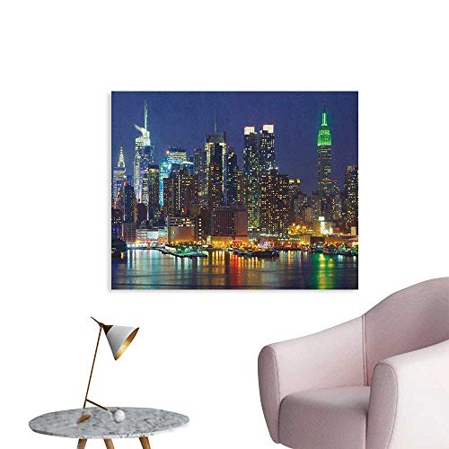 Anzhutwelve New York Wallpaper NYC Midtown Skyline in Evening Skyscrapers Amazing Metropolis City States Photo Funny Poster Royal Blue W28 xL20