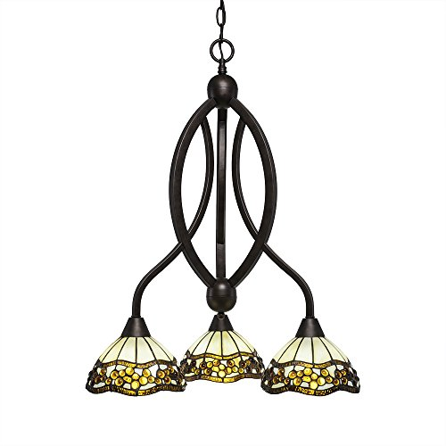 Toltec Lighting 263-BRZ-9975 Bow 3 Light Chandelier with Roman Jewel Glass 7