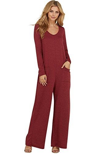 Annabelle Women's Full Length Pocketed Back Button Keyhole Jumpsuit Burgundy Small J8085