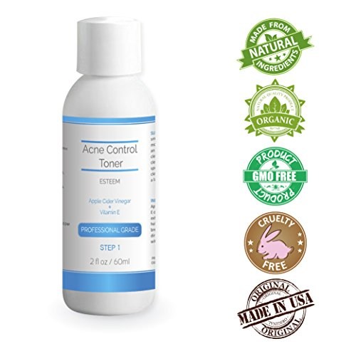 Hydroxy Acid Skin Care System (Natural & Organic Proactive Acne Control Toner + Apple Cider Vinegar & Vitamin E for adults & teens. Best face cleanser and wash for all adult & teen acne prone skin. Alpha Hydroxy Acid for skin cells)