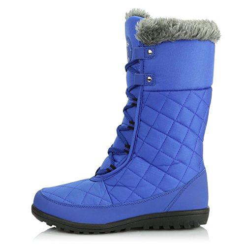 DailyShoes Womens Comfort Round Toe Mid Calf Flat Ankle High Eskimo Winter Fur Snow Boots Royal Blue hCpiqu2E