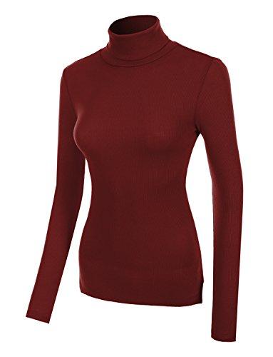RubyK Womens Basic Ribbed Long Sleeve Turtleneck Top-BURGUNDY-M