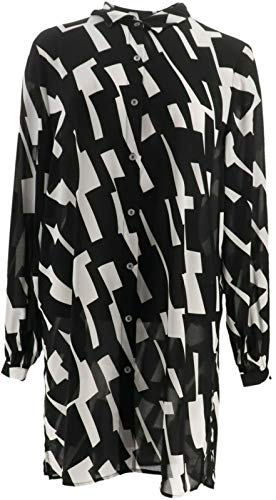 Dennis Basso Printed Woven Button Front Duster Black White 16# A353091 from Dennis Basso