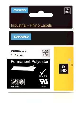 DYMO Rhino Permanent Adhesive Polyester Label Tape, 1-inch, 18-foot Cassette, Clear (1805433)