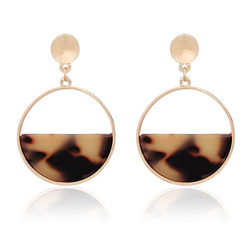 vogueknock Acrylic Dangle Earrings Gold Textured Square Tortoise Marble Resin Drop Earrings for Women (Leopard Round)
