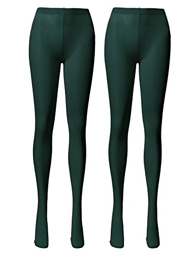 (OSABASA Women's 2 Pairs Opaque Control Top Tights Comfort Stretch 80 Denier Pantyhose DARKGREEN)