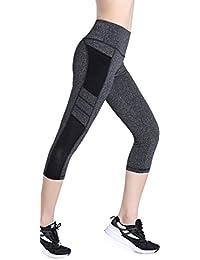 Women's Yoga Capri Pants Workout Running Pants Leggings High Waist with Pocket