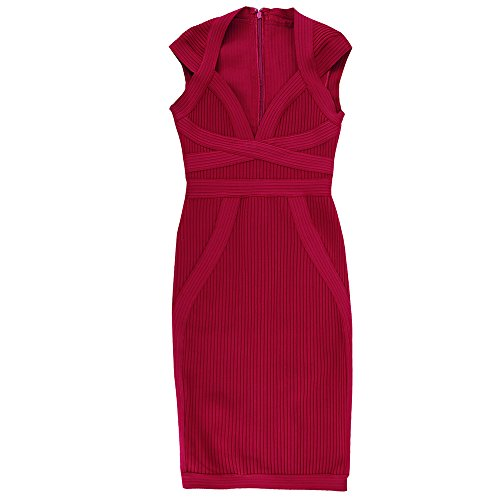 Bandage Hlbandage V 2018 Rojo Dress Sleeve Cap Deep Rayon Neck Bodycon Women Stripe wTxqORvH