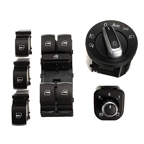 TYewa98556 6Pcs Window Mirror Headlight Switch Set for VW Passat B6 CC Golf MK6 Jetta MK5 ()