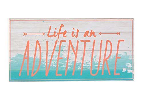 Life is an Adventure Coral Blue Pallet 8 x 16 Inch Wood Hanging Wall Plaque Sign (Coral Home Accents)