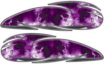 REFLECTIVE 4.5 h x 16 w Custom Motorcycle Gas Tank Graphics With Gray Skulls