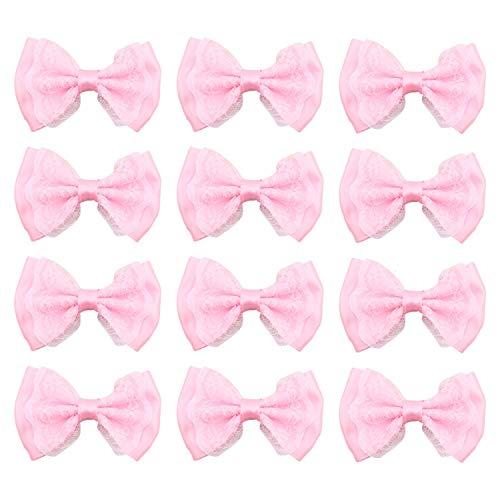 JETEHO 100cs Bow Appliques, Mini Bow Tie Shaped Lace Flowers Wedding Ornament Appliques Craft Wedding Hair Bow DIY Decor,Pink