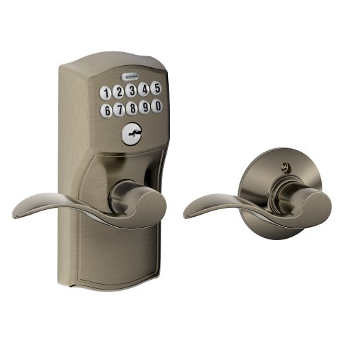Schlage FE575 CAM 620 Acc Camelot Keypad Entry with Auto-Lock and Accent Levers, Antique Pewter