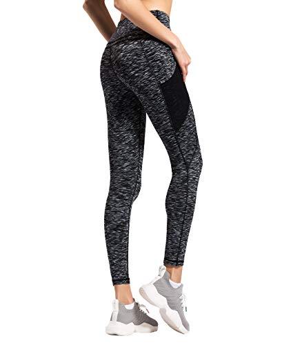 QUEENIEKE Women Yoga Leggings Mesh Pocket Mid-Waist Gym Running Tights 60127