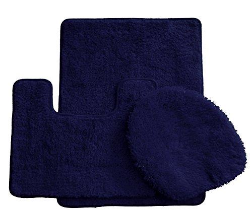 Royal Plush Collection 3-Piece Bathroom Rug Set, Bath Mat, Contour and Toilet Cover (Standard Round Size Toilet) - Navy ()