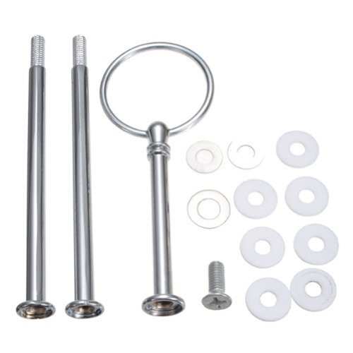 EUBUY 3 Tier Heavy Metal Round Shape Fruit Cake Plate Handle Fitting Hardware Rod Stand Holder (Silver)