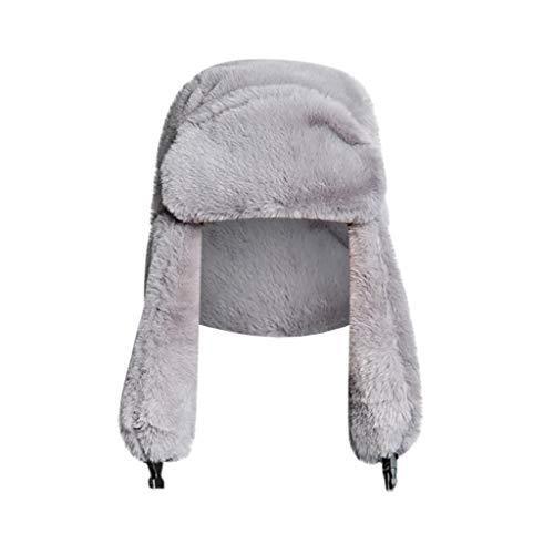 Crytech Unisex Faux Fur Russian Trooper Hat, Winter Warm Ushanka Snow Skiing Hat with Earflap Ear Warmer Plush Furry Cap Elmer Fudd Trapper Hat Ear Flap for Women Lady Men Outdoor Hunting (Gray)