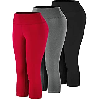 Cadmus High Waist Yoga Capri,Tummy Control,Workout Pants with Pockets for Womens,1002,Black & Grey & Red,Medium