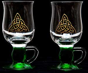 Celtic Glass Designs Set of 2 Hand Painted Irish Coffee Glasses in a Green Celtic Eternity Knot Design