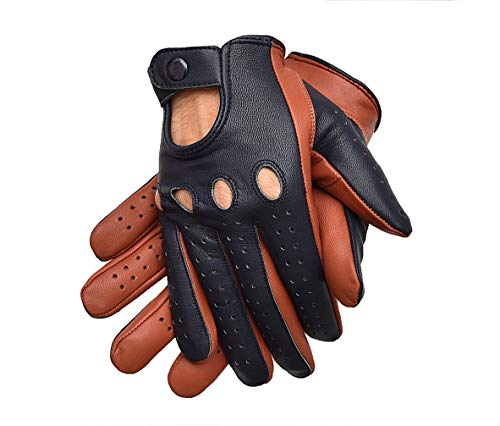 (Driving Gloves Two Tone Tan Blue For Men Genuine Leather (TAN/BLUE, SMALL))