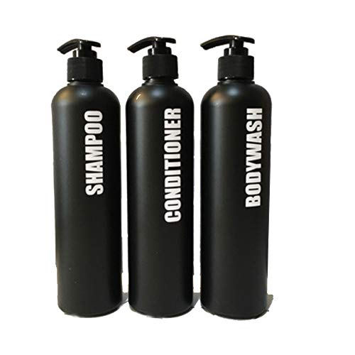 oni Men's Bathroom Refillable Empty Matte Black Dispenser PET Plastic Bottles,Shampoo,Conditioner,Body wash,Liquid Soaps 3 Packs 16 oz Pre-Applied Fully Waterproof Labels