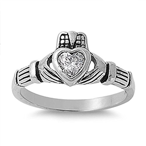 925 Sterling Silver Claddagh Ring Heart Shape Bezel Set Clear CZ Promise Ring