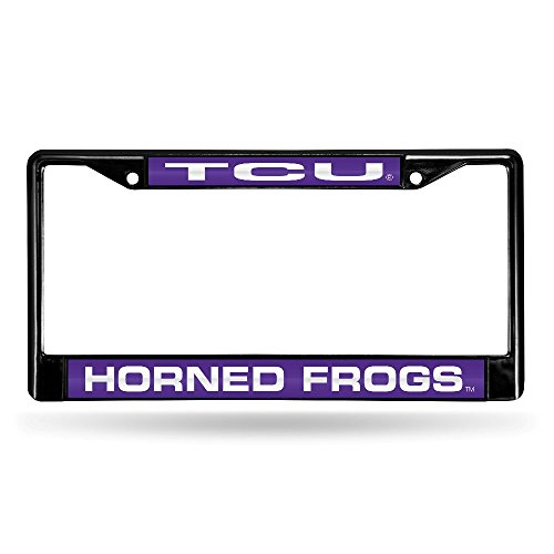 - NCAA TCU Horned Frogs Laser Cut Inlaid Standard Chrome License Plate Frame, Black