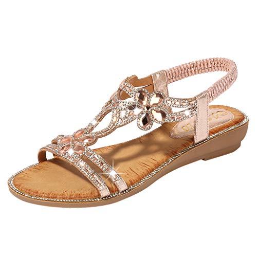 ✔ Hypothesis_X ☎ Women's Summer Beach Bohemia Sandals Crystal Flat Sandals Bling Flower Flat Sandals Beach Casual Shoes Pink