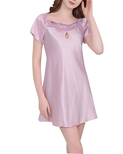 Pigiameria Camicia Donna Pigiama Raso Notte da Classica Pink2 Semplice Delle WUq0nPwUTr
