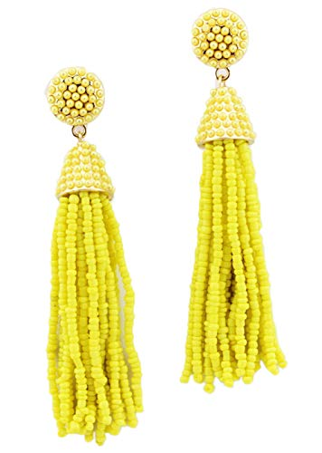 StylesILove Womens Fashion Handmade Hand Beaded Tassels Long Earrings (Yellow)