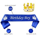 Cornucopia Birthday Boy Sash and Crown Set (2-Piece Set); Party Accessory Set with Fabric Crown and Satin Sash for Boy's B-Day and Dress-Up