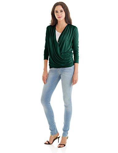 H2H Womens Flare Sleeve V Neck Tie Waist Ruched Casual Shirt Blouse Top Deepgreen US 3XL/Asia 3XL (CWTTL0184) (Tops Jersey Tie Waist)