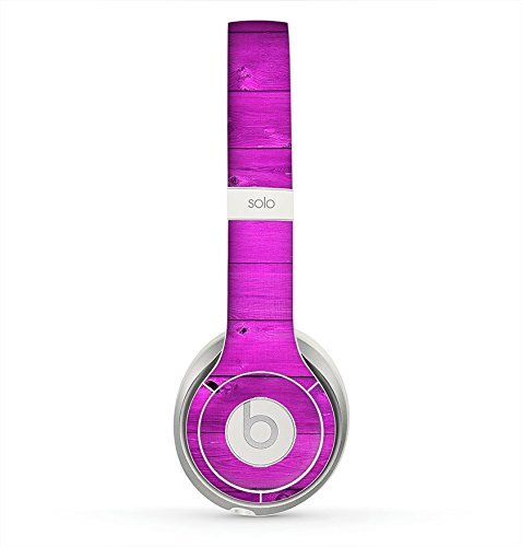 The Purple Highlighted Wooden Planks Skin for the Beats by Dre Solo 2 Headphones (Decal Only)