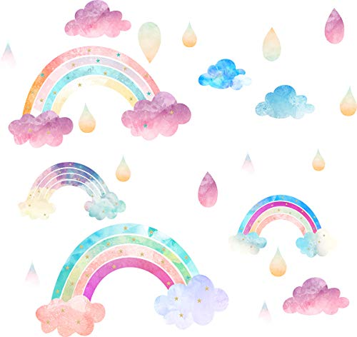 Rainbow Wall Decals Cloud Decals Watercolor Raindrop Wall Stickers Peel&Stick Removable Wall Sticker Kids Nursery Wall Decal